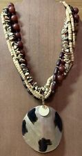 Joan Rivers 5 Strand Wood & Crystal Choker With Mother Of Pearl Pendant
