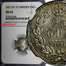 Sweden Carl Xv Silver 1871/61 25 Ore Overdate Ngc Ms62 1 Graded Higher Km# 712