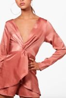BNWT BOOHOO salmon pink satrin evie knot front plunge playsuit romper size 10 38