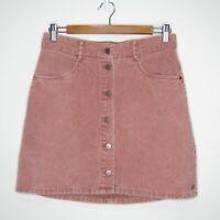 Roxy Womens Pastel Pink Corduroy Button Up High Waisted Mini Skirt Size M