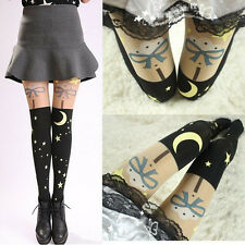 Women's Anime Sailor Moon Print 20th Anniversary Tights Lolita Pantyhose Black