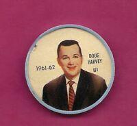 RARE 1961-62 SALADA RANGERS DOUG HARVEY COIN (INV# A5762)