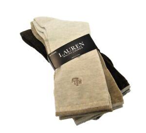 3 PR Ralph Lauren Ladies Socks Crew Ribbed Embroidered RLL Asst Neutrals
