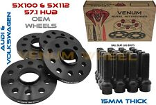 Full Set Of 15mm Thick 57.1 Hub Bore 5x100/112 Bolt Pattern Includes Lug Bolts
