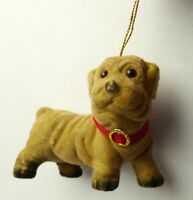 Brown Dog Velvet Covered Christmas Ornament 1985 vintage