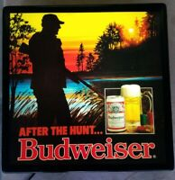 Vintage 80's Budweiser After The Hunt Lighted Bar Sign-New Bulbs less then 1 hr