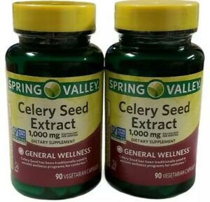 Spring Valley Celery Seed Extract PIlls 1000 Mg Equivalent 90 Vegetarian Capsule