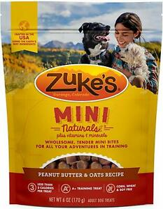 (2 Pack) Zuke's Mini Natural Healthy Fresh Peanut Butter and Oats Dog Treats 6oz
