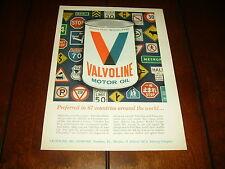 1965 VALVOLINE MOTOR OIL ***ORIGINAL VINTAGE AD***