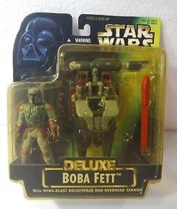 Star Wars BOBA FETT 1996- with -Wing Blast Rocket Pack and Overhead Cannon