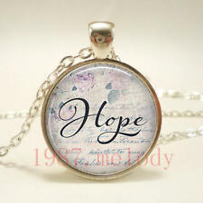 New charm Cabochon Glass Necklace Silver pendants (Hope quotes