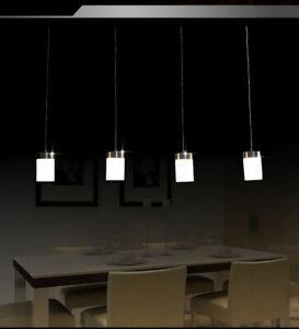 Verre Mat Nickel Blanc Neuf A+ LED SD8228-04A Luminaire Suspendu 4x7W Suspension