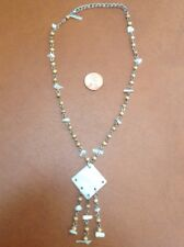 Silver Tone Wood & Plastic Bead & Pendant Necklace designer signed Dollhouse