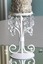 cream metal candle holder candelabra single vintage jewel wedding  chic dropper