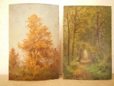 École De Barbizon. Paire de tableaux paysage de sous bois. huile sur panneau