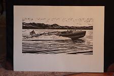 """Liberty"" Roy E. Dryer III Lino Cut Block Print by famed maritime artist"