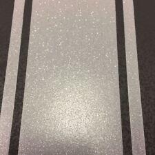 Stripe Glitter Wallpaper Embossed Vinyl Black & Silver Wentworth Fine Decor