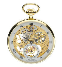 Jean Pierre Gold Plated Open Face & Back Skeleton Pocket Watch, ref G252PM