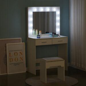 White Dressing Table Stool Set Makeup Desk with 12 LED Lights 2 Storage Drawers