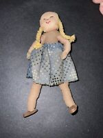 """Vintage Miniature Cloth Doll 4"""" Handmade , Stitched Face"""