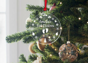 Personalised Baby's First Christmas Bauble 1st Xmas Hanging Tree Decoration Gift