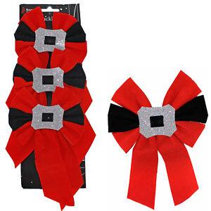 Red Velvet Buckle Bows Christmas Tree Decoration - 3 Pack 12cm