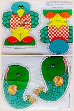 Vintage Whale & Bird Cut & Sew Pillow Fabric Panel Uncut 70's