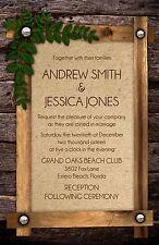 Wedding Invitations Wood Frame & Leaf Flourish 50 Invitations & RSVP Cards