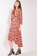 Topshop Matchstick Print Wrap Asymmetric Midi Belt Dress Red UK 6 8 10 12 BNWT