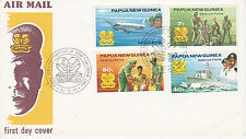 PAPUA NEW GUINEA FIRST DAY COVER 1981 DEFENSE FORCES MILITARY NAVAL AIR #536-539