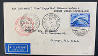 1930 Germany Graf Zeppelin LZ127 Flight PC Cover to Chicago IL Sc#C38