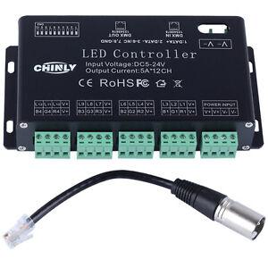 DMX LED controller 12 Channels RGB  DMX decoder&driver LED strip module DC5V-24V