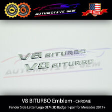V8 BITURBO Fender Side AMG Emblem Chrome Logo Badge Mercedes C63 E63 G63