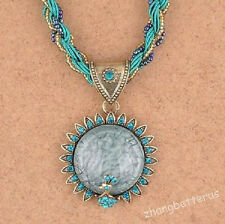 Blue Green Western Fashion Millet Chain Crystal Rhinestone Peacock Necklace 56