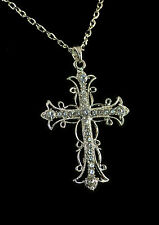 "27"" SILVER TONE CHAIN WITH CROSS CHARM AND CLEAR RHINESTONES"