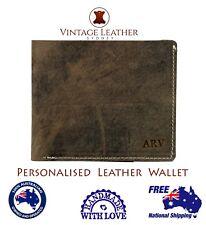 Men's Personalised Leather Wallet Custom Monogram Slim Bi-fold Free Shipping AU