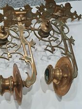 More details for antique arts & crafts piano candle sconce holder pair hinged detailed brass