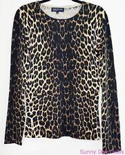 Jones New York Womens Sweater Silk Leopard Long Sleeve Brown Black Beige Knit M