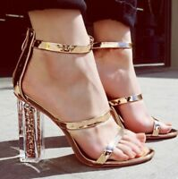 Hot Women Gold Clear High Heels Heels Sandals Wedding Party Shoes Size 4.5-9