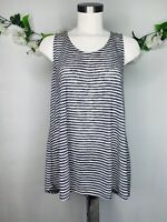Anthropologie W5 Striped Swing Tank Blue White Soft Sleeveless Top Women's Sz M