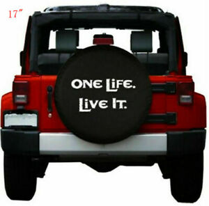 """17"""" Spare Tire Cover Wheel Protectors PU Leather for Jeep Wrangler 32-33"""""""