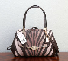 NWT COACH $278 Madison Zebra Print Small Madeline East/West Satchel 26634 BROWN