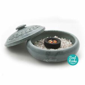 Green Soapstone Incense Burner, Charcoal Burner, Round Bowl Pot Burner w/ Lid
