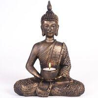 Large Bronze Thai Buddha Tea Light & Candle Holder Antique Statue Resin Ornament
