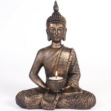 Large Bronze Thai Buddha Tea Light & Candle Holder Antique Statue Resin Ornament