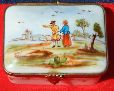 Limoges Hand Painted Hinged Trinket Box - 18th Century Man and Woman town scene