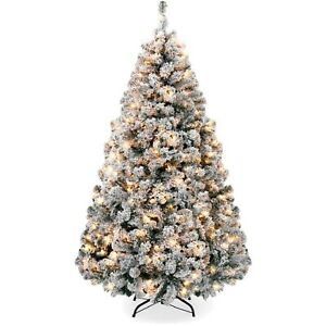 6ft Pre-Lit Holiday Christmas Pine Tree w/ Snow Flocked Branches, 250 Warm White
