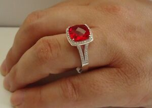 925 STERLING SILVER LADIES RING W/ 6 CT LAB DIAMOND& RUBY /SIZE 5 TO 9 AVAILABLE