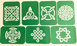 7 x Celtic Knot -2 designs Stencils  Body Art And Glass Etching  Glitter