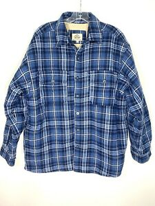 Levis The Two Horse Brand Blue Plaid Sherpa Lined Trucker Flannel Jacket Mens L